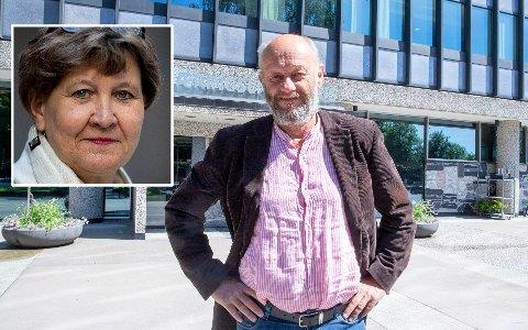 SER RØDT ETTER UTTALELSE: Fagforbundets leder Mette Nord (innfelt) kaller Norsk Industri-direktør Stein Lier-Hansens utspill for absurd og respektløst.