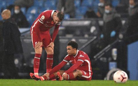 SKADEAVBREKK Trent Alexander-Arnold pådro seg en skade i oppgjøret mot Manchester City.