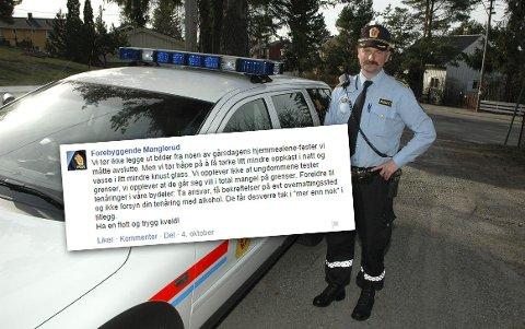 Dag Harald Drevsjø er leder for forebyggende avsnitt på Manglerud politistasjon, som i helgen publiserte en sjokkerende melding om ungdommers festvaner på Facebook.