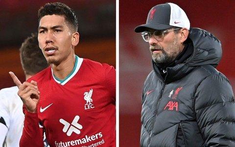 SIER IFRA: Manager Jürgen Klopp (til høyre) har lite til overs for dem som mener Roberto Firmino ikke leverer i Liverpool-drakta.