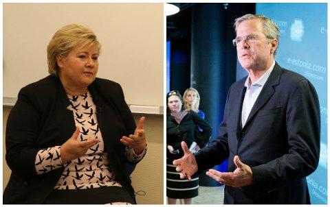 LIGNER? Jeb Bush har en del til felles med Erna Solberg som politikertype, mener Jan Arild Snoen.