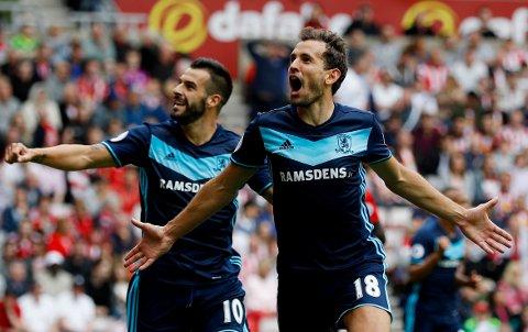 JUBEL: Cristhian Stuani og Álvaro Negredo var sentrale da Middlesbrough endelig slo lokalrivalen Sunderland i ligaen igjen søndag.