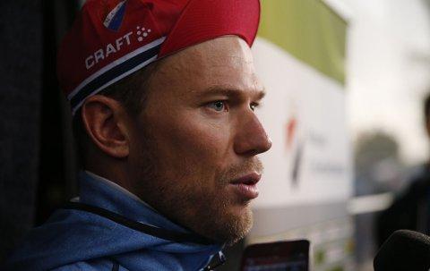 MULIG SKADE: Thor Hushovd gikk i bakken underveis i Omloop Het Nieuwsblad.