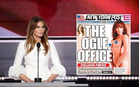 Melania Trump, kona til den republikanske presidentkandidaten Donald Trump, blir vist frem naken på forsiden av New York Post søndag.