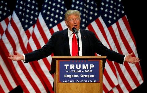 Donald Trump under et valgkamparrangement i Eugene, Oregon, tidligere i måneden.