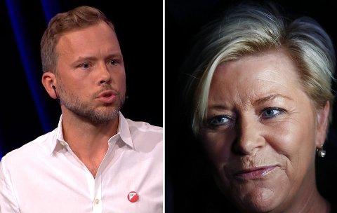Ifølge SV-leder Audun Lysbakken går stadig større andel av skattekuttene til de rikeste. Finansminister Siv Jensen (Frp) avviser Lysbakkens kritikk.