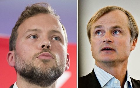 Investor og milliardær Øystein Stray Spetalen (til høyre) langer ut mot urettferdig norsk skattesystem og henger spesielt ut SV og Høyre (SV-leder Audun Lysbakken til venstre).