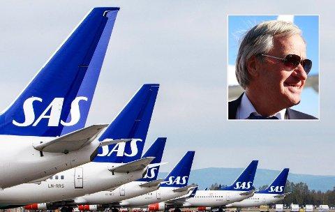 FULLE FLY: Mens SAS-flyene står på bakken, kan Bjørn Kjos-sjef (innfelt) og Norwegian konstatere at ekstraflyene mellom Oslo og Bodø, Tromsø, Bergen og Trondheim blir fullbooket.