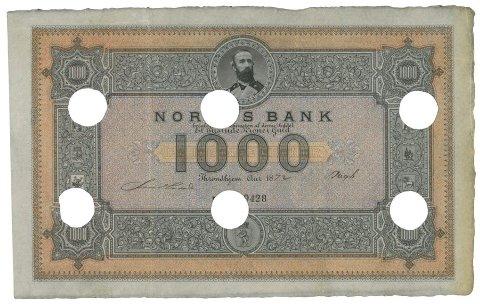 MER ENN 1000: Denne tusenlappen har vist seg å være verdt en del mer enn det den var på 1800-tallet.