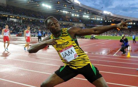 LEGGER OPP: Usain Bolt, her fra Commonwealth Games i Glasgow i fjor, legger opp etter VM i 2017.