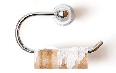 TOM DORULL? Tips: Ta den av holderen, kast den i søppelbøtta på toalettet og tre på en ny dorull. Det tar kanskje fem sekunder, maks!