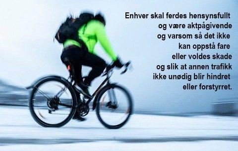 HENSYNSFULLT: Veitrafikklovens paragraf tre gjelder også for sykllister, slår Høyestrett fast.