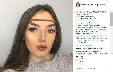 GLORIE-ØYENBRYN: Hannah Lyne hiver seg på spenstige øyenbrynstrender på Instagram.