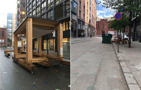 FJERNET: Utekontoret som var plassert i Kjeld Stubs gate i Oslo sentrum er nå blitt fjernet (bildet til høyre), og er lagt på et lager inntil videre.