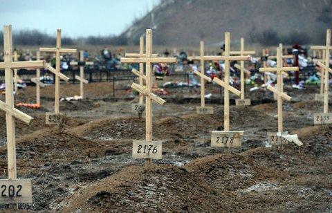 GRAVER UTEN NAVN: Kors med nummer er plassert ut på gravene til ukjente pro-russiske separatister på et gravsted i Donetsk i Øst-Ukraina. Siden midten av april i fjor har 5665 mennesker mistet livet i konflikten.