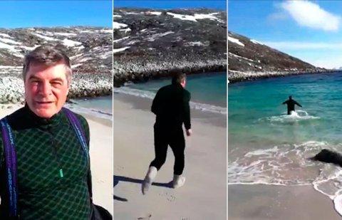 KALD OPPLEVELSE: Alf E. Jakobsen, ordfører i Hammerfest, hoppet i havet men ville ikke utfordre andre til å gjøre det samme.