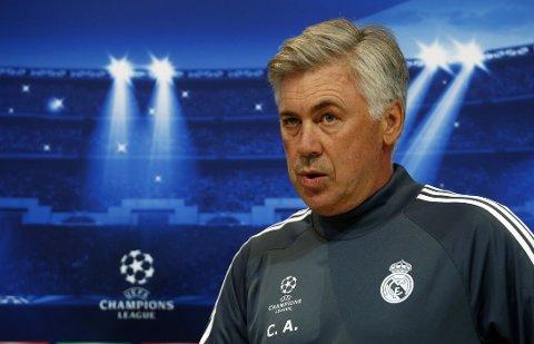 UNDER PRESS: Carlo Ancelotti leder Real Madrid i Champions League tirsdag.