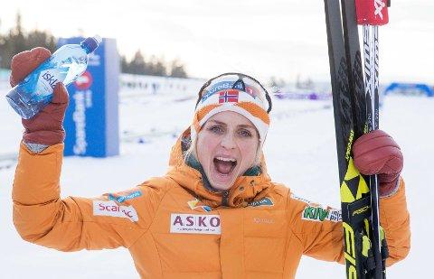 Meråker: Therese Johaug vant 15 km skiathlon for kvinner på NM på ski i Meråker, åtte dager senere tok hun VM-gull på samme distanse. Foto: Terje Pedersen / NTB scanpix