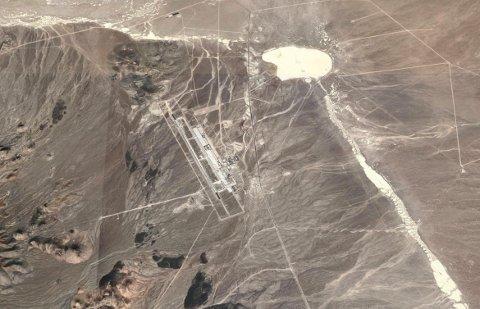 Satellittbilde av Tonopah Test Range Airport (TTR). Testbasen er beryktet for sine mange hemmelige flyprosjekt.