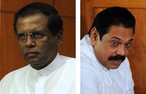 IKKE HAN: Sri Lankan President Maithripala Sirisena (til venstre) vil nekte tidligere president Mahinda Rajapakse (til høyre) å bli statsminister.