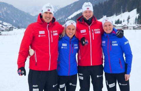 LAGET: Emil Hegle Svendsen, Tiril Kampenhaug Eckhoff, Johannes Thingnes Bø og Marte Olsbu går for Norge i VMs første øvelse.