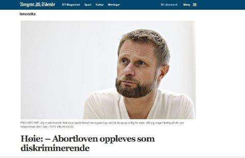 Skjermdump fra Bergens Tidende.