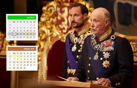 LANG STORTINGSFERIE: Når representantene går fra hverandre på fredag, er det 101 dager til Kong Harald står for den høytidelige åpningen.