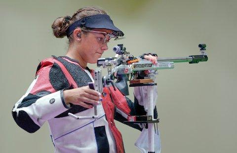 Jeanette Hegg Duestad fikk to fjerdeplasser i OL. Tirsdag endte hun på annenplass under mestermøtet på Elverum bak suverene Hans Kristian Wear. Foto: Heiko Junge / NTB