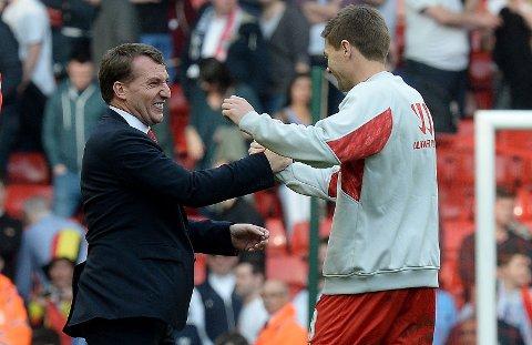 IKKE BEKYMRET: Brendan Rodgers har klokketro på Steven Gerrard.