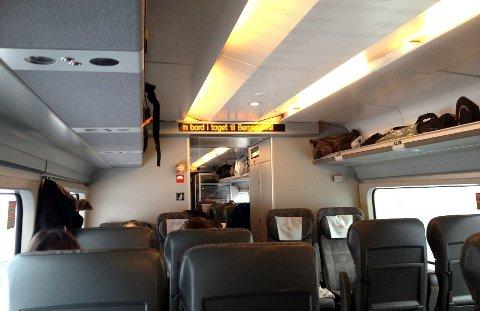 Velkommen: Velkommen på toget til Bergen. Foto: Privat