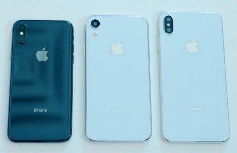 Dette skal være såkalte dummy-modeller av henholdsvis iPhone Xs, iPhone XC og iPhone Xs Max.