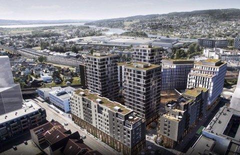 STORT: Meierikvartalet i Lillestrøm skal bestå av flere bygninger, blant annet med de tre høyeste byggene i byen. Illustrasjon.