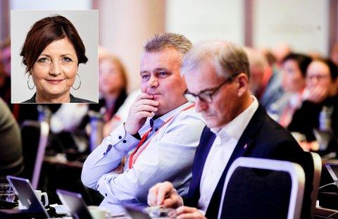 FORBAUSET: Ap leder Jonas Gahr Støre på Fellesforbundets landsmøte sammen med Jørn Eggum leder i fellesforbundet. Marie Nilsson, leder i svenske IF Metall (innfelt), er forbauset over EØS-debatten. Utmelding er et helt uaktuelt tema i Sverige, forteller hun.