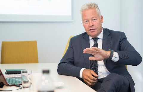 STERKE TALL: Gjensidige-sjef Helge Leiro Baastad legger frem sterke tall for tredje kvartal.
