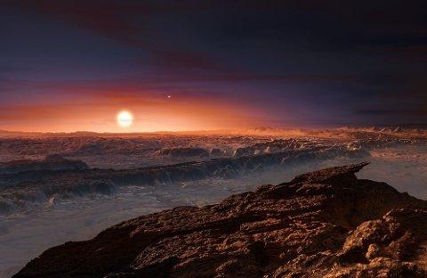 PROXIMA B: Et tenkt bilde av hvordan planeten Proxi ma b kan se ut på overflaten. Planeten er noe større enn jorden og befinner seg i beboelig sone rundt den røde dvergstjernen Proxima Centauri. Det betyr at temperaturen på planeten er slik at det kan være vann og liv der.