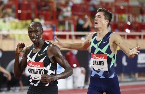 GULRIVALER: Jakob Ingebrigtsen og Timothy Cheruiyot møtes i OL-finalen på 1500 meter.