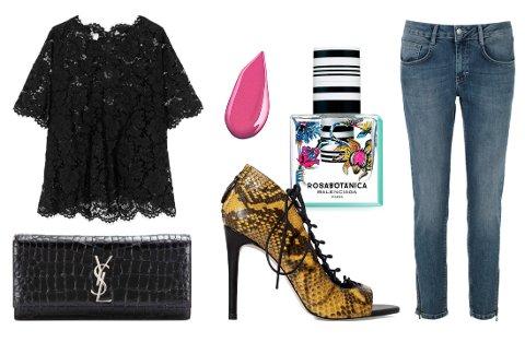 Fra venstre: Blondetopp fra Valentino. Clutch-veske fra YSL. Lip gloss fra Shiseido. Sko med slangeskinnsmønster fra Zara. Parfyme fra Balenciaga. Jeans fra Part Two.