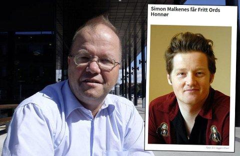 GRATULERTE: Den sparkede læreren Max Hermansen (t.v) har sendt SMS og gratulert lektor Simon Malkenes med honnøren fra Fritt Ord.