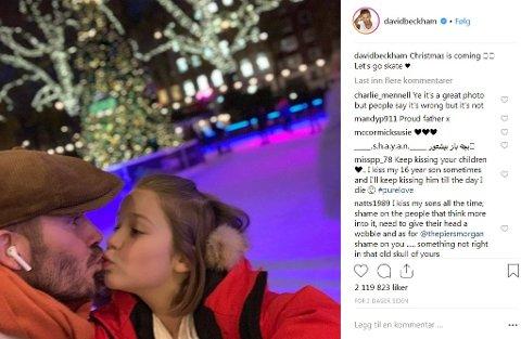 KYSSEBILDE: David Beckham delte dette bildet fra en tur på skøytebanen med Harper, sin 7 år gamle datter.
