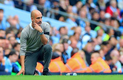 BETENKT: Manchester City-manager Pep Guardiola. Her avbildet under forrige Premier League-kamp hjemme mot Brighton.