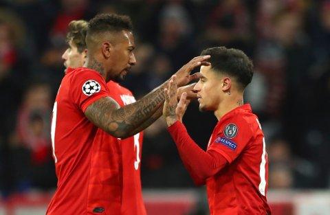SEIER MOT SPURS: Bayern Münchens Philippe Coutinho jubler sammen med Jérôme Boateng.