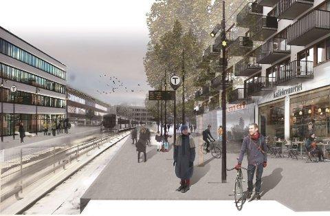 Hovinbyen skal knyttes sammen med blant annet butikker og uteliv. Her slik man ser for seg Vollebekk t-banestasjon.