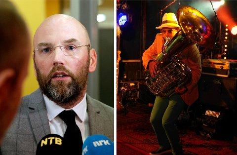 BRYNJAR MELING: Han er best kjent som advokat, men Brynjar Meling er i tillegg en habil tubaspiller. Her fra «Heim te'n Terje»-konserten (bildet til høyre).