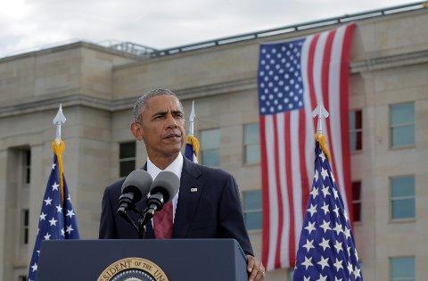 15 ÅR: President Barak Obama taler under minneseremonien utenfor Pentagon 15 år etter 11. september-angrepene.