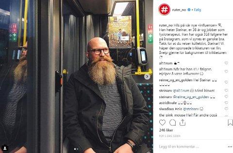 INFLUENCER: Steinar Krey Voll er blitt influencer for Ruter - til prisen av en gratis trikkebillett og en refleks.