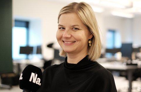 Kunnskapsminister og Venstre-leder Guri Melby i Nettavisens podcast-studio 20. oktober. (Foto: Trond Lepperød, Nettavisen)