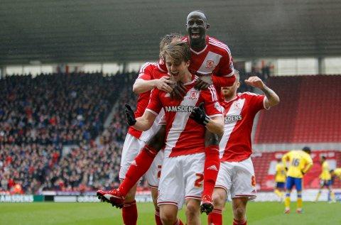Middlesbrough topper The Championship etter matchvinnermålet til Patrick Bamford (foran) mot nedrykkstruede Wigan.