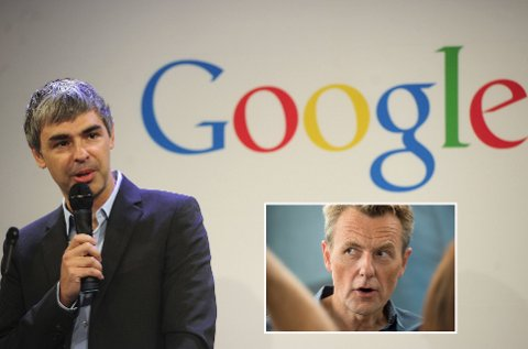 FORSKJELL PÅ FOLK: Google betalte 3,07 mill.kr. i skatt i Norge i 2017, Fredrik Skavlan betalte3, 47 mill. kr samme år. Larry Page (t.v.), den ene av Googles to grunnleggere, er i dag konsernsjef i Googles eierselskap Alphabet. AFP PHOTO/Emmanuel Dunand/FILES