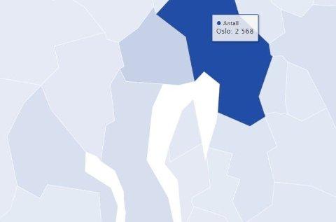 OSLO FØRST: Oslo topper lista over antall smittetilfeller, og det er et stort sprang - nesten 2000 tilfeller - ned til kommunen som inntar plass nummer to, Bergen. På Folkehelseinstituttets interaktive kart kan du se smittetallene for din kommune og nabokommuner.