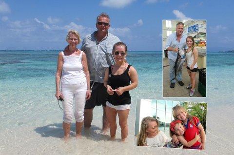 I PANAMA: Sandra Borch sammen med hennes biologiske far Kjetil Solberg og bestemor Inger i Panama City. Innfelt nede til høyre sammen med hennes nye lillesøstre, Andrea og Anna-Lia.